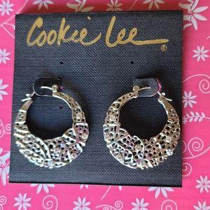 Cookie Lee silver basket weave look hoops